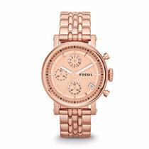 Reloj Fossil Boyfriend Crono Oro Rosa Nuevo Es3380