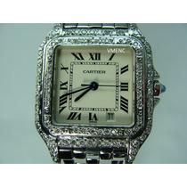 Cartier Pantera De Dama En Acero Y Diamantes