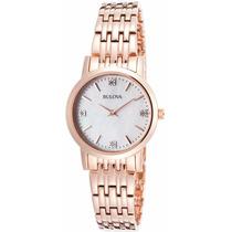 Reloj Bulova Diamond Gal Tono Oro Rosado Mujer 97p106