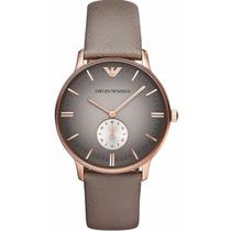 Reloj Emporio Armani Retro A. Inoxidable Piel Gris Ar1723