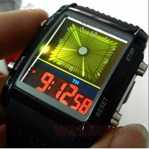 Reloj Raro Led Alarma Green Soldier Dia Digital Binario Luz