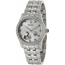 Reloj Bulova Diamond Heart Mujer Automatico Concha 96r122