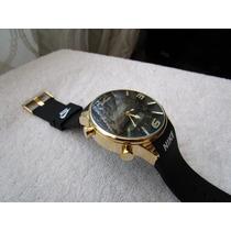 Excelente Reloj Nike Digital Negro Oro Caucho Subasta 1 Peso