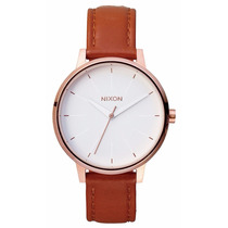 Reloj Nixon The Kensington Oro Rosado Piel Cafe A108-1045