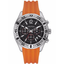 Reloj Nautica A17666g Reloj Cronógrafo Microesferas Naranja
