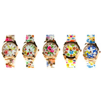 Lote 10 Relojes Estilo Geneva Modelo Gliss De Silicon