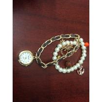 Reloj De Pulsera Cuero Y Acero. Fotos Reales. $299 Con Envio