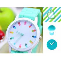 Reloj Moda Iphone Super Cool Turquesa Rosa Morado Y Blanco