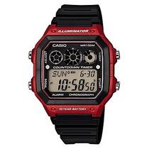 Casio Reloj Para Hombre Ae-1300wh-4av Pantalla Digital Rojo