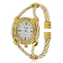 Bracelete De Liga E Cristal C Relógio De Quartzo