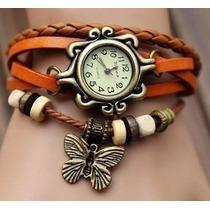 Lote De 10 Relojes Brazalete De Piel Y Dije Mariposa