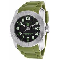 Reloj Swiss Legend Commander Ii Verde Caucho 10068-01-mgrsa