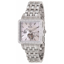 Reloj Bulova Mecanico Diamantes Mother Of Pearl 96r155