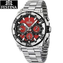Reloj Festina F16658/8 Original Con Eslabones Mate-rojo