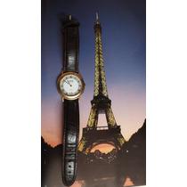Reloj Frances Clyda Fino Y Exclusivo Diseño Maquina Dorada