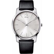 Reloj Calvin Klein City Análogo Piel Negra Plateado K2g211c6