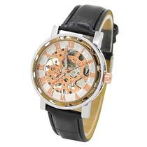 Reloj Caballero Cuerda Skeleton Transparente Acero Cafe