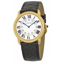 Reloj Cartier Ronde Oro 18k Piel Negra Unisex W6700455