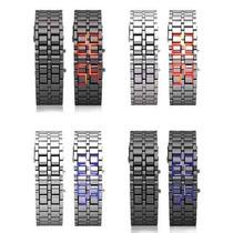 Lote De 5 Relojes Digitales Led Samurai Negro O Plata