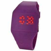 Reloj De Silicon Morado Para Dama Y Caballero Display Led