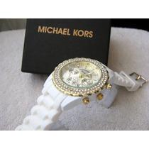 Precioso Reloj Michael Kors Caucho Blanco Subasta 1 Peso