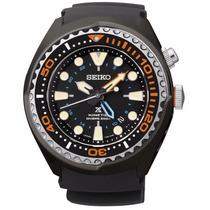 Reloj Seiko Kinetic Divers Gmt Caucho Negro Sun023