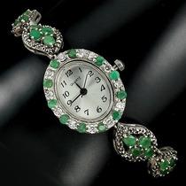 Reloj Con Esmeralda Natural Plata Solida Y Oro No Subasta