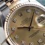 Carátula Para Rolex Date Just Color Oro, Con Diamantes