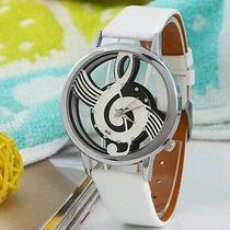 Reloj Transparente Clave De Sol Unisex Analogo (blanco)