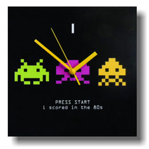 Reloj De Pared Space Invaders Old School, Modelo 8 Bits