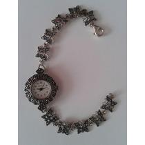 Reloj Geneva Para Dama Con Estencible En Plata Labrada