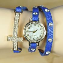 Hermoso Reloj De Piel Y Zirconias Dije Cruz Y Love Vv4