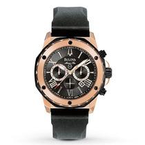 Reloj Bulova Marine Star Acero Caucho Negro Dorado 98b104