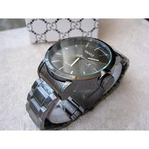 Moderno Reloj Gucci Negro Pavonado Grande Subasta 1 Peso