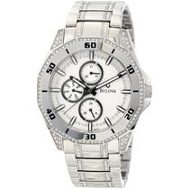 Reloj Bulova Crystal Acero Inoxidable Blanco Cristal 96c110