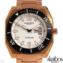 Reloj Akribos 21 En Acero Inox Chapa De Oro 24k, Hombre Sp0