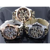 Hermoso Reloj Para Dama Animal Print Leopardo Caucho Geneva