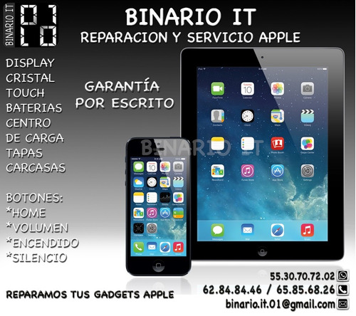 Reparación Iphone Ipad , Refacciones, Servicio Apple