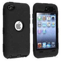 Caso Híbrido Compatible Con Apple Ipod Touch 4ª / Piel Negro