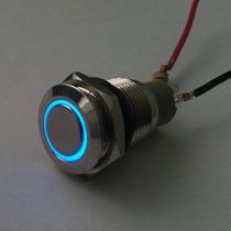 Botón Pulsador Arillo Iluminado Color Azul
