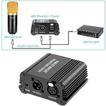 Neewerâ® 1- Canal 48v Phantom Power Supply Negro Con Adaptad