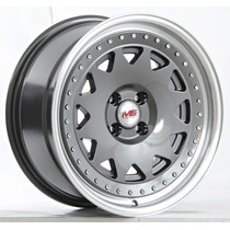 Rin Er 075 F Gunmetal Polish Lip M 17x8 4x100 Et25 4b New!