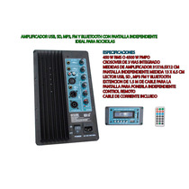 Amplificador Con Pantalla Independiente Usb,sd,fm, Bluetooth