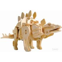 Rompecabezas 3d Estegosaurio Madera Sonidos Camina Robot