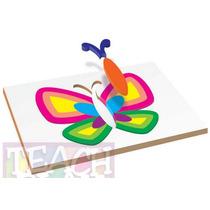 23418 Mariposa Rompecabezas 18 Piezas De Madera Teach Play