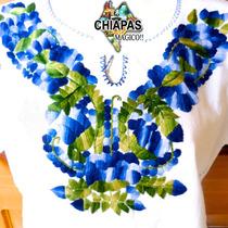Hermosas Blusas Bordadas De Chiapas, Mod001: Azul Con Verde