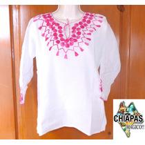 Hermosa Blusa Bordada De Chiapas, Mod17: Manta / Rosa (s)