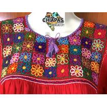 Hermosa Blusa Unitalla Bordada De Chiapas, Diseño Especial 6