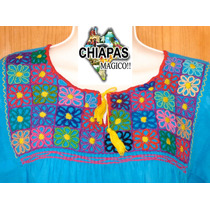 Hermosa Blusa Unitalla Bordada De Chiapas, Cuadros/flores 1