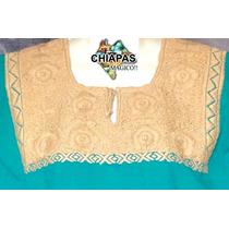 Hermosa Blusa Bordada De Chiapas Mod10 Turquesa (chica)